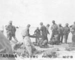 US Marines on the landing beach at Tarawa, Gilbert Islands, late Nov 1943
