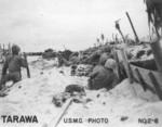 US Marines on a beach at Tarawa, Gilbert Islands, 20-23 Nov 1943