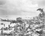 Men and supplies on the beach of Betio, Tarawa, Gilbert Islands, late Nov 1943