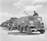 Canadian Ford-built CMP 3/4-ton 2-wheel drive truck set to lead a British Royal Air Force convoy out Libya to Tunisia, circa 1942.
