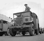 Canadian Ford CMP Field Artillery Tractors pulling artillery pieces, date and location unknown.
