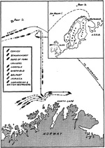 Map of the Battle of the North Cape, 26 Dec 1943 as published in the Feb 1944 issue of the US Navy�s All Hands magazine.