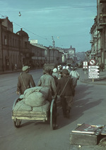 Street view, Kharkov, Ukraine, Oct-Nov 1941; note Assumption Cathedral in background