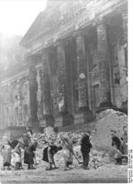 Clearing rubble in front of the Reichstag building, Berlin, Germany, 18 Mar 1948