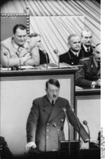 Adolf Hitler speaking to the Reichstag at the Kroll Opera House, Berlin, Germany, 4 May 1941, photo 1 of 2
