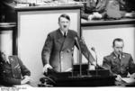 Adolf Hitler speaking to the Reichstag at the Kroll Opera House, Berlin, Germany, 4 May 1941, photo 2 of 2