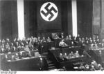 Adolf Hitler speaking to the Reichstag about the Enabling Act, Kroll Opera House, Berlin, Germany, 23 Mar 1933