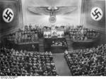 Adolf Hitler speaking to the Reichstag at the Kroll Opera House, Berlin, Germany, 3 May 1941