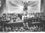 Adolf Hitler speaking to the Reichstag at the Kroll Opera House, Berlin, Germany, 30 Jan 1939