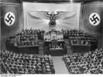 Adolf Hitler speaking to the Reichstag at the Kroll Opera House, Berlin, Germany, 19 Jul 1941