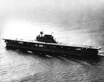 The carrier Yorktown (Yorktown-class) underway during her builder trials, Apr 1937
