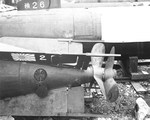 American photograph of after bodies (motors) for Japanese Kaiten human guided torpedoes taken at Yokosuka Naval Base, Yokosuka, Japan, 7 Sep 1945