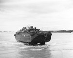A fully loaded DUKW coming ashore at Normandy, France, 11 Jun 1944.