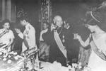 President Chiang Kaishek and Song Meiling entertaining King Rama IX and Queen Queen Sirikit of Thailand, Grand Hotel, Taipei, Taiwan, Republic of China, 5 Jun 1963, photo 4 of 4