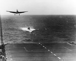 TBM Avenger landing on USS Guadalcanal about 6 Jun 1944 while the carrier was towing the captured submarine U-505. Guadalcanal's hunter group captured U-505 in the western Atlantic on 4 Jun 1944.
