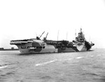 Starboard quarter view of HMS Indomitable off Norfolk, Virginia, United States, 30 Mar 1944