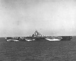 USS Randolph in Chesapeake Bay, Virginia, United States during her shakedown period, 12 Nov 1944. Note camouflage Measure 32 Design 17a. Photographed from escort carrier USS Charger.