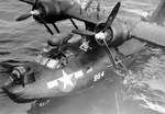 Black PBY-5A Catalina of Patrol Bombing Squadron VPB-54 pulled from the water at a base in the Philippines, late 1945.