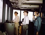 Bridge watch aboard the USS Missouri during the battleship's shakedown cruise to Trinidad, Aug 1944: commanding officer Capt William M Callaghan, Officer of the Deck Lt Morris R Eddy, and Yeoman 1st class Arthur Colton