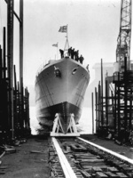 Launching of HMS Kelly at the Hawthorn Leslie yard, 25 Oct 1938