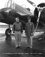 Brigadier General Henry Arnold with base commander LtCol Clarence L Tinker in front of a Martin B-12 bomber, Hamilton Field, Novato (listed at the time as San Rafael), California, United States, 10 Jan 1936.