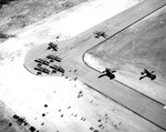 Aerial view of a glider training airstrip in Texas, 1943. Visible are C-47 Skytrain tow planes with Waco CG-4A gliders. Photo 5 of 5