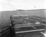 US Navy TDN-1 drone test from the decks of the training carrier USS Sable while steaming in reverse in Grand Traverse Bay, Michigan, United States, 10 Aug 1943. This particular test was unsuccessful. Photo 3 of 4.