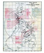 United States Army map showing all identified Japanese airfields within 300 miles of the Philippine island of Mindoro. This map was prepared as part of the Mindoro invasion plans, 15 Dec 1944.