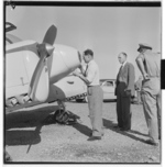 Douglas Bader inspecting a Norwegian Gemini aircraft, Fornebu, Bærum, Akershus, Norway, 1955, photo 3 of 8