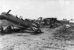 Wrecked I-16 (UTI-4 variant; foreground) and Hs 126 (background) aircraft, 1941