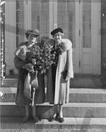 Sponsor Mrs. Allen and Maid of Honor Mrs. Rossell at Portsmouth Navy Yard, Kittery, Maine, United States, 20 Oct 1941