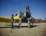 Basuto workers cleaning a Master aircraft at No. 23 Air School at AFB Waterkloof, Pretoria, South Africa, Jan 1943