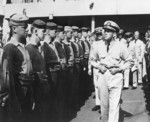 Rear Admiral Alan Kirk inspecting the crew of USS Ancon, Sep 1943
