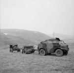 C8 prime mover with limber and 25-pdr field gun, Scotland, United Kingdom, 20 Mar 1941