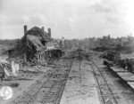 Railway station in ruins, Saint-Lô, France, 1944