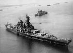 USS Iowa delivering President Franklin Roosevelt to Africa for transit on to the Tehran Conference, Mers El Kébir, Oran, Algeria, 20 Nov 1943. Note French cruiser Jeanne d'Arc just beyond Iowa. See Note below.