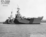 Cruiser USS Portland as seen off Mare Island Naval Shipyard, California after overhaul, 30 Jul 1944. She is painted in Measure 32, Design 7D. Photo 2 of 2