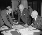 Harry Hopkins, Clifton Woodrum, and Edward Taylor, Capitol Building, Washington, United States, 20 Apr 1938