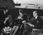 John Winant, Anna Boettiger (née Roosevelt), and Harry Hopkins aboard USS Quincy off Egypt, 14 Feb 1945