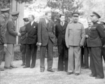Keer, Marshall, Hopkins, Stalin, Molotov, Voroshilov, and others, Tehran, Iran, Dec 1943