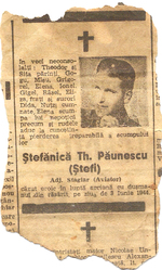 Obituary of Stefanica Paunescu, 1944