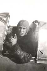 Stefanica Paunescu in the cockpit of his FN.305 aircraft, 1940s, photo 1 of 2
