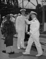 Commissioning ceremony of USS New Jersey, Philadelphia Navy Yard, Pennsylvania, United States, 23 May 1943, photo 10 of 25; note roommate of Robert Elliott on left