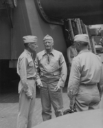 Admiral Raymond Spruance and Admiral Chester Nimitiz aboard USS New Jersey, date unknown, photo 1 of 4