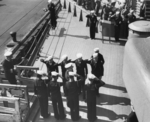 A unidentified vice-admiral embarking USS New Jersey, date unknown
