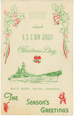 Christmas holiday greeting card from the officers of USS New Jersey, Dec 1944, page 1 of 3