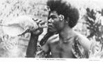 Postcard featuring civilian with conch shell, Fiji, 1940s