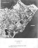 Aerial photograph of North Head Kiska Harbor, Kiska Island, Alaska during a bombing mission, 17 Jul 1942. Note the notations made by the photo analysts.