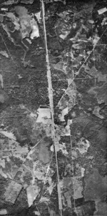 Aerial photo of Sobibór, occupied Poland, 30 Sep 1941; photo taken by German Luftwaffe personnel