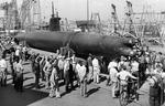 Type A Ko-hyoteki class Ha-19 midget submarine captured in Hawaii after the Pearl Harbor attack seen at Mare Island Navy Yard in California, United States at the beginning of its cross-country war bonds tour, 24 Sep 1942